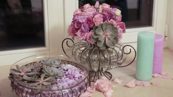 Bouquet of flowers. Floral composition in pale pink. Close up