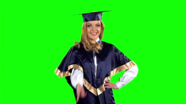 Student. Graduate. Green screen. Slow motion