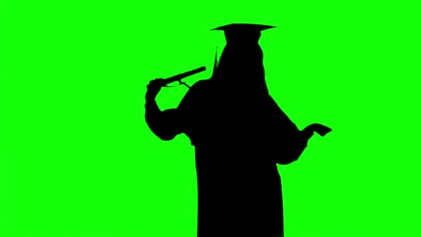 Dancing graduate with a diploma. Graduation at the university. Alpha channel. Silhoutte
