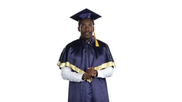 Graduate of nods and smiles. White