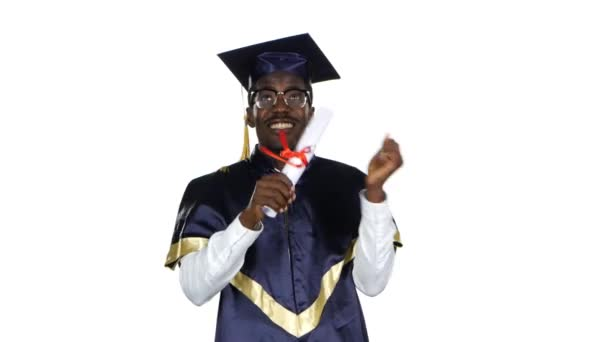 Absolvent univerzity. Student s diplomem. Bílé