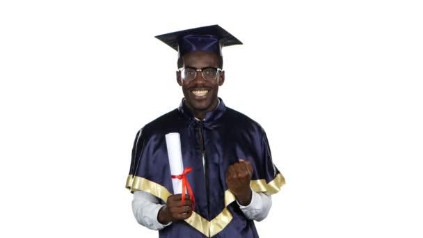 Graduate with diploma. White