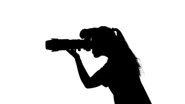 Photographer provides professional photography. White. Silhouette