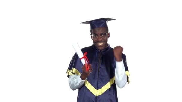 Graduate holding a diploma. Slow motion. White