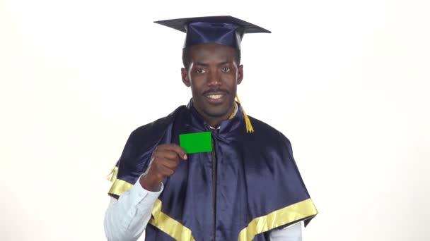 Diplomával rendelkező zöld kártyát. Fehér. Lassított. Közelről