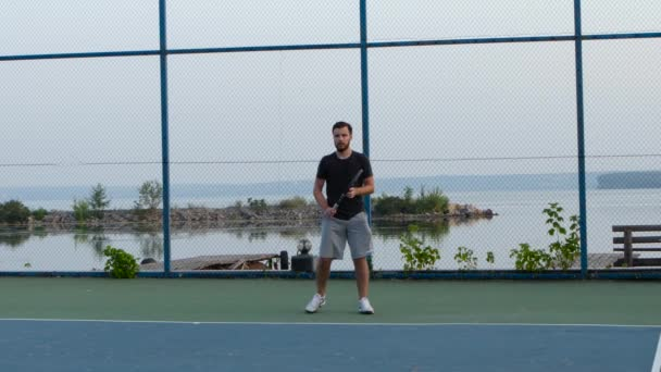 Professional tennis player hitting the ball with precision