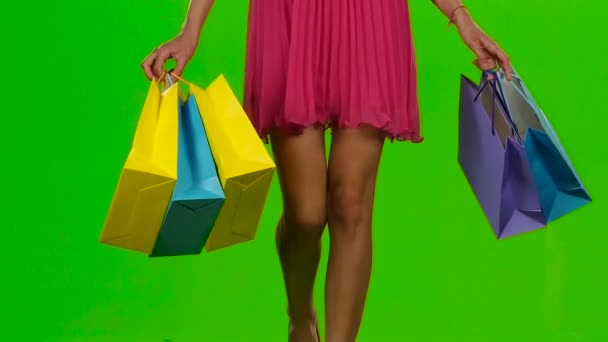 Shopping. Sale period. Green screen. Slow motion