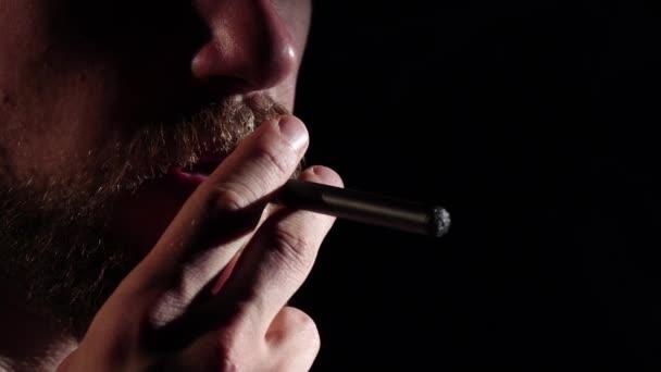 Electronic cigarette. Black. Silhouette, Slow motion