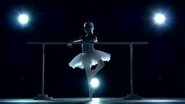schöne Balletttänzerin auf blau. Ballerina trägt weißes Tutu und Spitzenschuhe