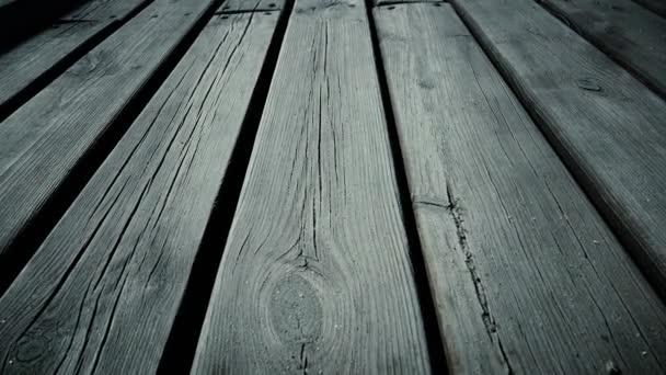 Holzplanken. Dollly erschossen. Nahaufnahme