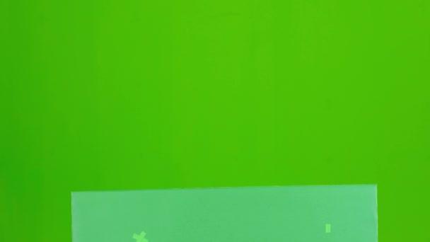 Sexy dívka bavorské poiting na zelené zprávy kartu. Zelená obrazovka