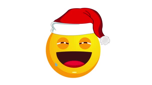 Animation of a laughing to tears yellow emoji in santa claus christmas hat isolated on white background. Positive emotions concept. Winter holidays emoticon. Alpha channel.