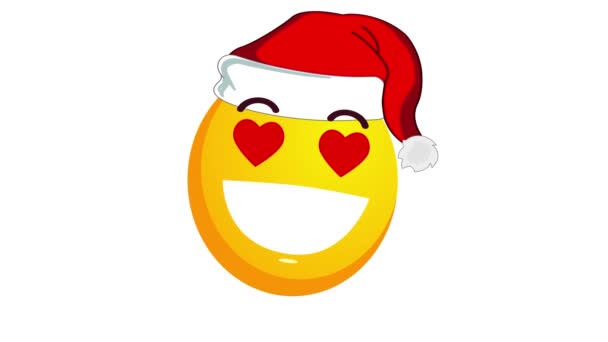 Animation of an enamored and smiling broadly yellow emoji in santa claus christmas hat isolated on white background. Positive emotions concept. Winter holidays emoticon. Alpha channel.