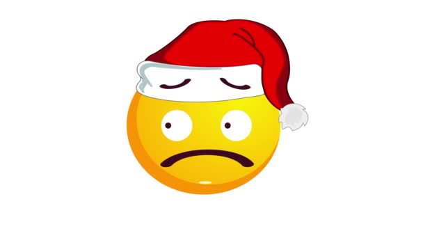 Animation of a confused yellow emoji in santa claus christmas hat isolated on white background. Negative emotions concept. Winter holidays emoticon. Alpha channel.