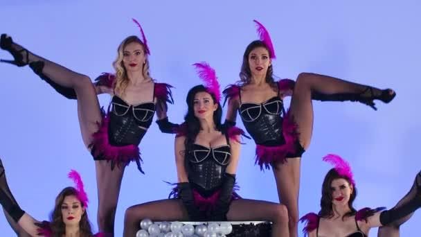 Sexy junge Frauen in schwarzen Bodys mit lila Federn tanzen, während sie auf der Torte stehen. Eine Gruppe von Kabarettisten posiert auf isoliertem blauen Hintergrund im Studio. Zeitlupe. Nahaufnahme.