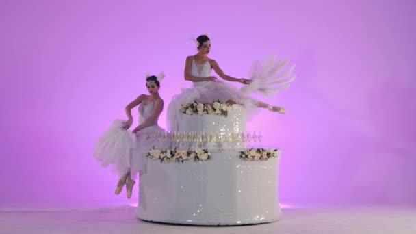 Jemné ženské baletky v bílém labutím kostýmu pózující na dortu zdobeném květinami. Dvě mladé ženy půvabně pohybuje ve zpomaleném filmu na růžovém pozadí ve studiu.