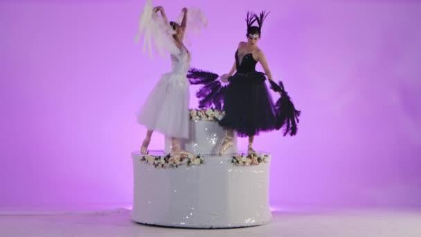 Dvě mladé baletky oblečené jako černé a bílé labutě tančí na dekorativním dortu zdobeném květinami a flitry. Ženy půvabně pohybovat ve zpomaleném filmu na růžovém pozadí studia.