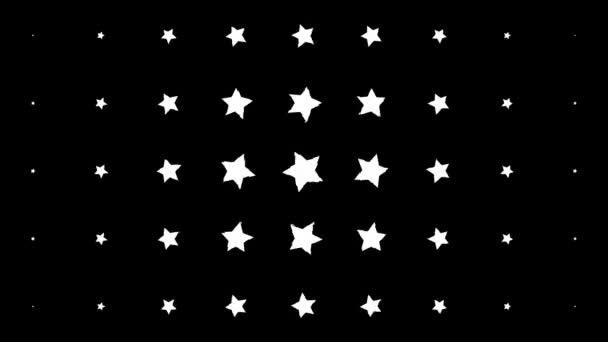 Dinamikus összetétel fehér csillagokkal, fekete háttérrel. Szüreti minta animáció.