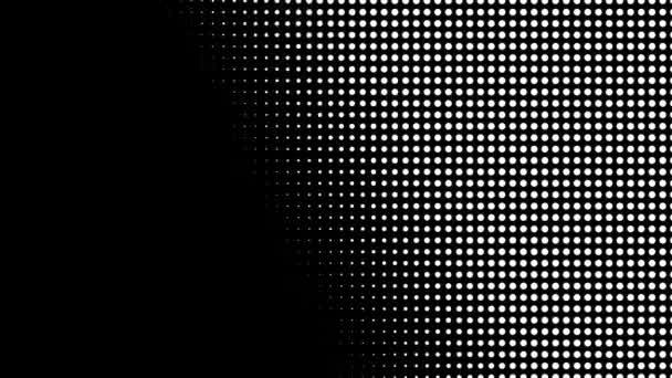 Varrat nélküli félhang fehér pontok véletlenszerűen jelennek meg, és eltűnik mozgásban fekete háttér.
