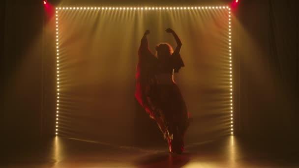 Vášnivá žena v cikánském kostýmu tančí a mává svou dlouhou sukní. Tanečnice je siluetou cikánského lidového tance v tmavém zakouřeném studiu se žlutým světlem. Zpomalený pohyb.