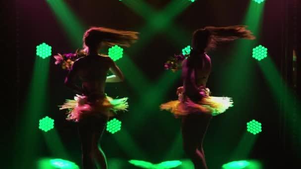 Dvě rozkošné tanečnice tančí havajský tanec a uměle pohybují těly a boky. Siluety polonahých žen tančících na havajském večírku na pozadí zelených světel. Zavřít.