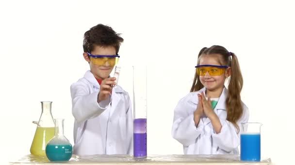 Children making successful experiment