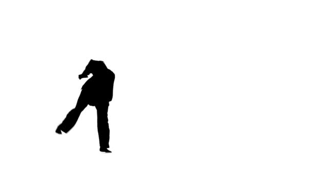 Silhouette of  fit man jumping