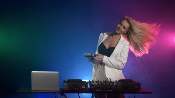 Dj girl playing music