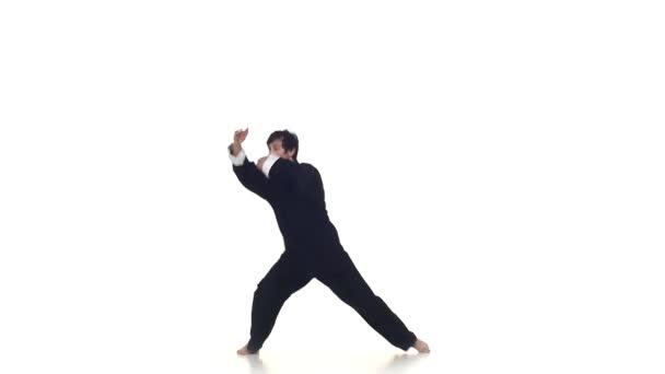 Karate man makes rack
