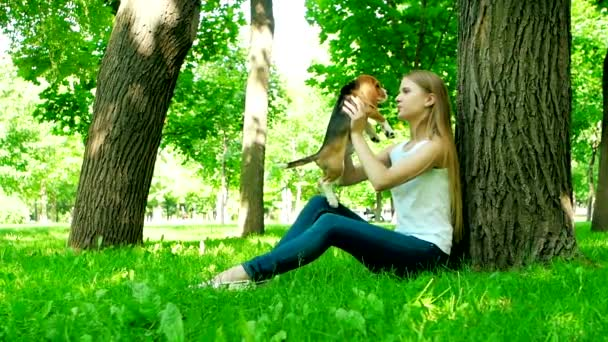 happy woman with a dog beagle playing on nature. Slow motion