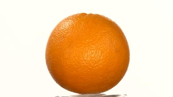 Zralé oranžové izolované na bílém, rotace