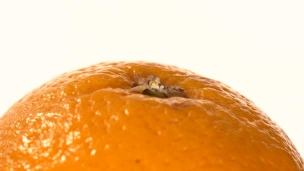 Horní části zralé oranžové izolované na bílém pozadí, otáčení, zblízka