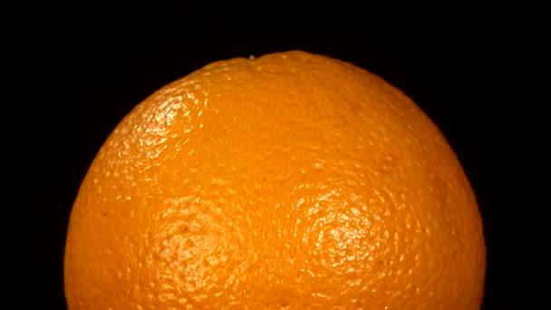 Horní části zralé oranžové izolované na černou, rotace
