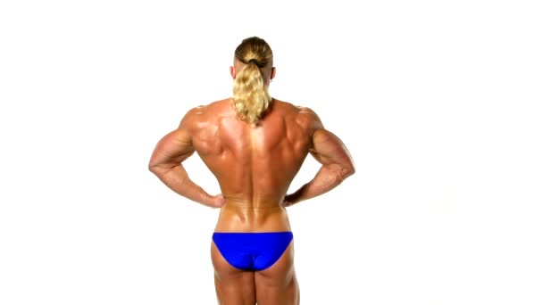 Back view of a body builder, isolated on white