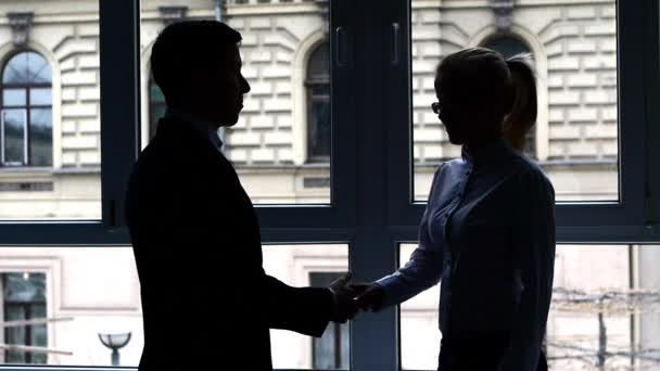 Silhouette Successful businessman and businesswoman shaking hands. Slow motion.