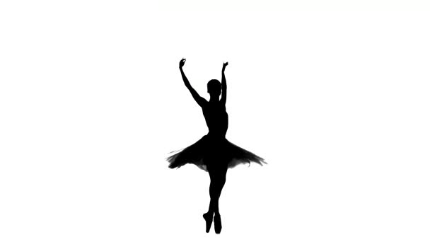 Slim ballerina spinning, on white background, silhouette