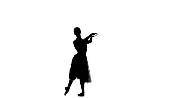 Young ballerina making dance trick, grands battements, on white background, silhouette