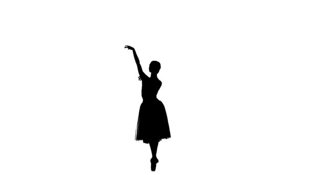 Young ballerina making dance trick, grands battements, on white background, silhouette, slow motion