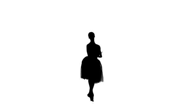 Pěkná baletka, taneční trik, prosby na bílém pozadí, pomalý pohyb, silueta