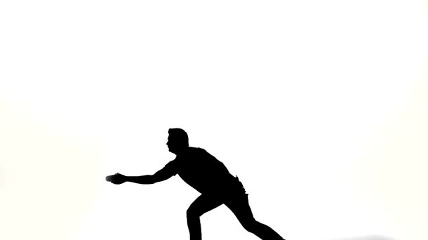 Vector silhouette waiter on a white background