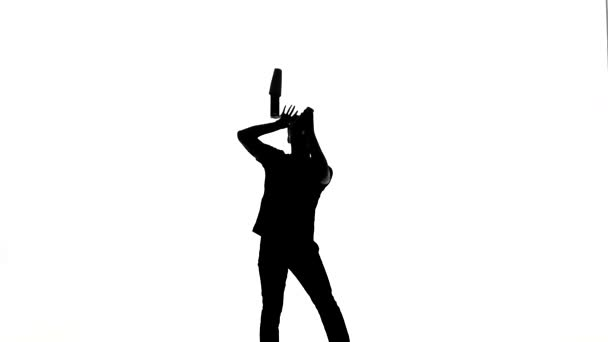 Vector silhouette waiter on a white background. silhouette