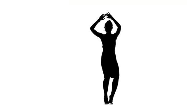 Dancing young woman social latina on a white, silhouette