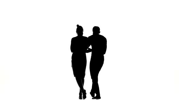Girl and afro american man with naked torso barefoot dancing beautiful social latino dancing on white, silhouette