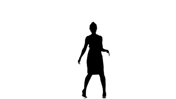 Starting dancing young woman social latina on a white, silhouette