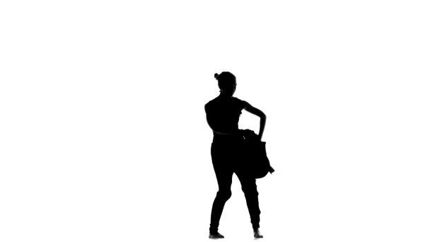 Vonzó szakmai táncos végez szociális Latino tánc, fehér, sziluett
