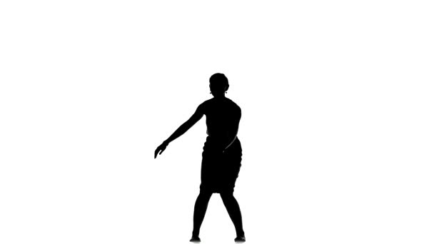 Slim professional dancer woman go on dancing social latino dance, on white, silhouette