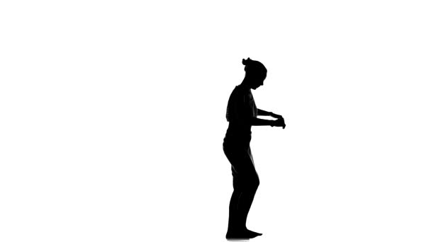 Slim professional dancer woman enjoy dancing social latino dance, on white, silhouette