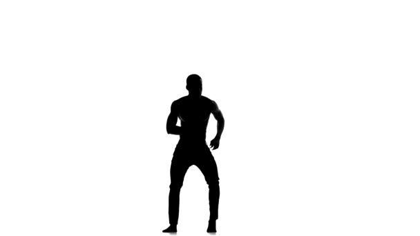 Afro american man dancer with naked torso dancing latina dance on white, silhouette
