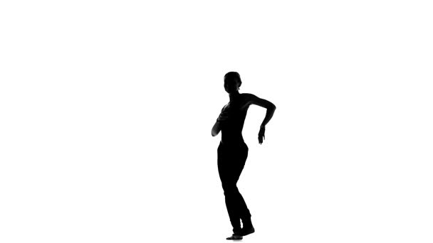 Continue of dancing barefoot stylish young woman social latina on a white, slow motion, silhouette
