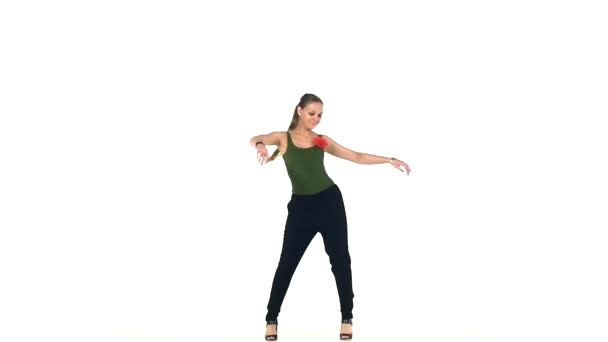 Continue of dancing barefoot stylish young woman social latina on a white, slow motion